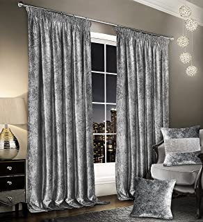 Luxury Thermal Crushed Velvet Silver Grey Pencil Pleated Pair Of Curtains 66 Wide