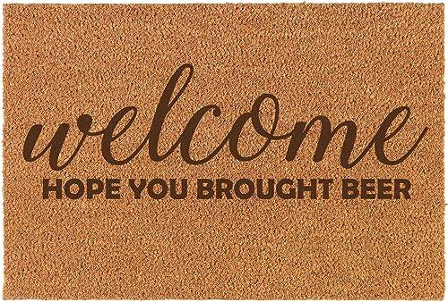 Coir Funny Home Entry Doormat Door Mat Welcome Hope You Brought Beer