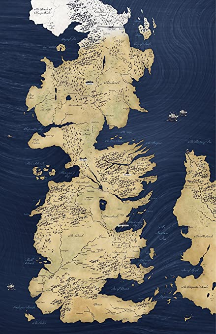 Amazon Com Nlopezart Westeros Map From Game Of Thrones Song Of Ice