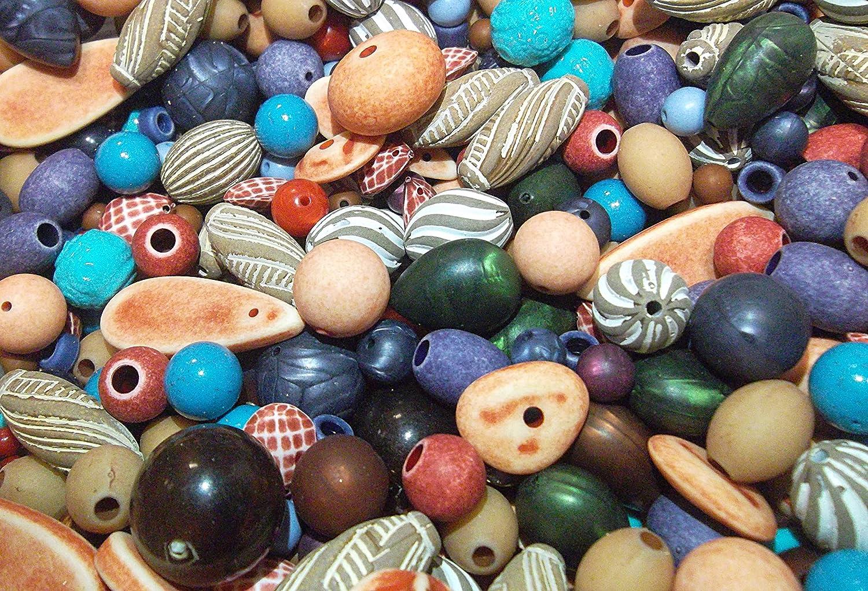 perlin - 100 g mezcla perla perlas de plástico Set großlochp erlen Mix acrílico perlas bola, gota, ovalado, aspecto de madera perlas marrón natural, PERLAS DE PLÁSTICO,