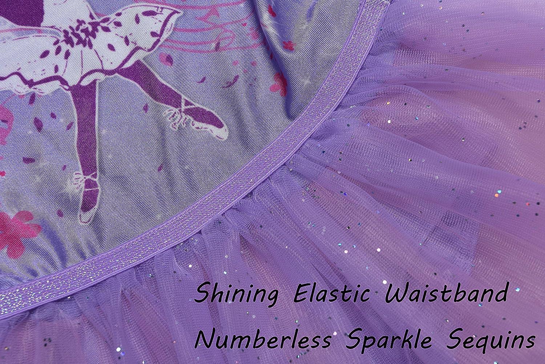 MOLLDAN Girls/' 3//4 Sleeve Leotard Dance Ballet Dress Kids/' Sparkle Tutu Skirt and Waistband