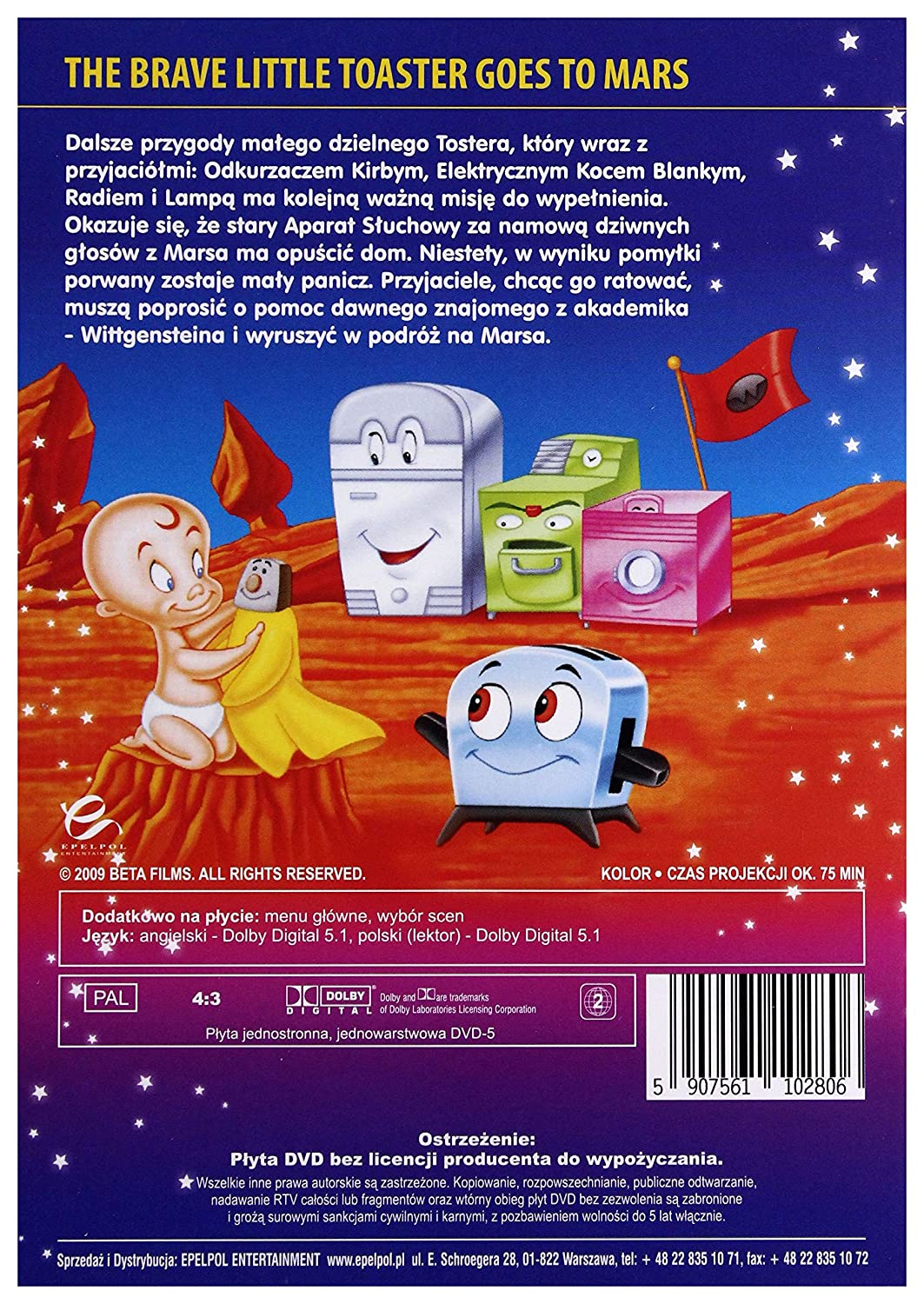The Brave Little Toaster Goes to Mars DVD Region 2 English audio