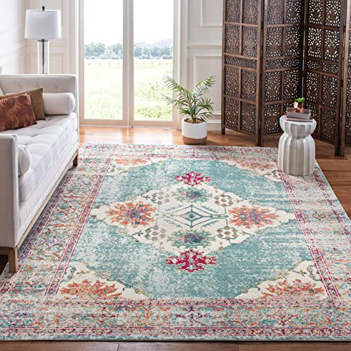Safavieh Crystal Collection CRS522K Boho Chic Vintage Distressed Area Rug, 9 x 12 , Cream Turquoise