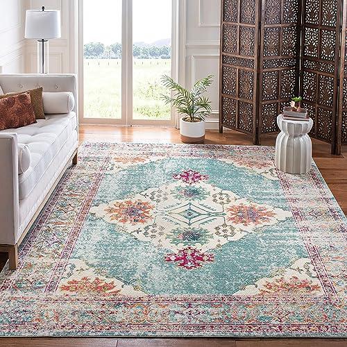 Best living room rug: Safavieh Crystal Collection CRS522K Boho Chic Medallion Distressed Non-Shedding Stain Resistant Living Room Bedroom Area Rug