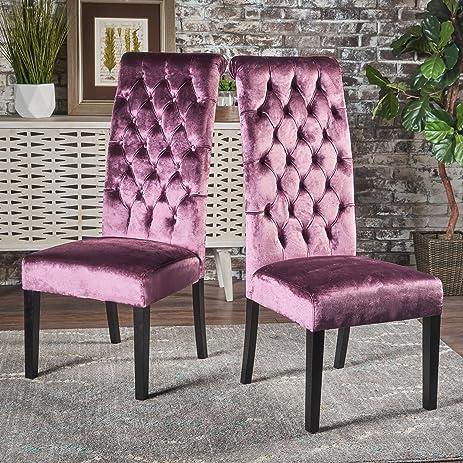 Leona Tall Back Tufted New Velvet Dining Chair (Set Of 2) (Raisin)