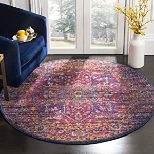 Safavieh EVK275F-3R Area Rugs, 3' Diameter, Blue