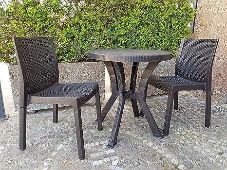 Tavolino e Sedie Set da Giardino Tondo Rattan Tavolo Resina Esterno ...