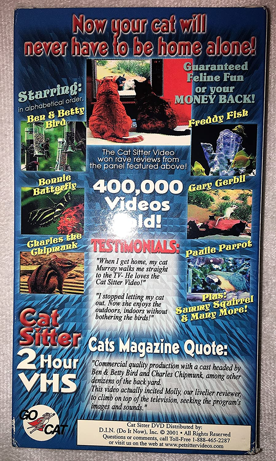 Amazon.com: Cat Sitter - 2 Hour VHS - The Video Cats LOVE To Watch ...