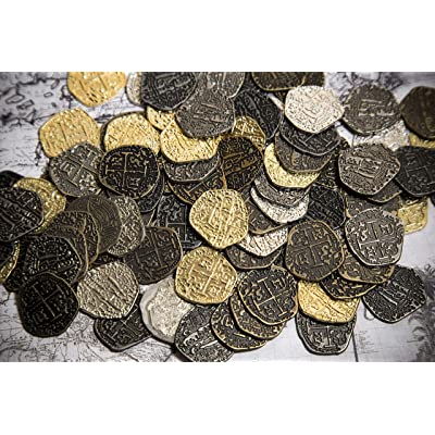 Beverly Oaks Metal Pirate Coins -100 Gold and Silver Spanish Doubloon Replicas - Fantasy Metal Coin Pirate Treasure - Gold, Silver, Antique and Rustic Style Finishes: Toys & Games