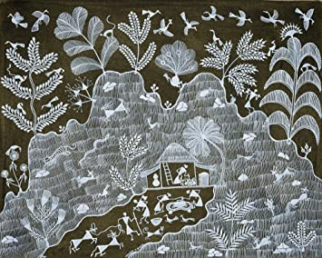 Amazon house in the mountains warli painting on cotton fabric house in the mountains warli painting on cotton fabric folk art of the warli altavistaventures Image collections