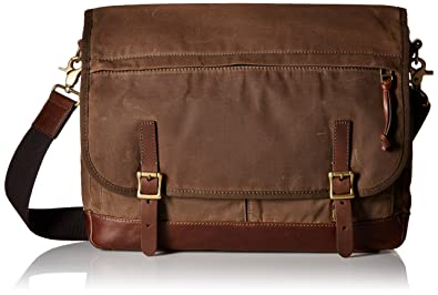 Amazon.com: Fossil Men's Defender Waxed Canvas Messenger Bag ...