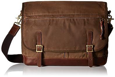 Amazon.com: Fossil Men's Defender Waxed Canvas Messenger Bag ...