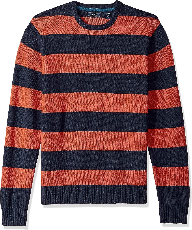 Izod Mens Newport Stripe 7 Gauge Crewneck Sweater Pullover Sweater
