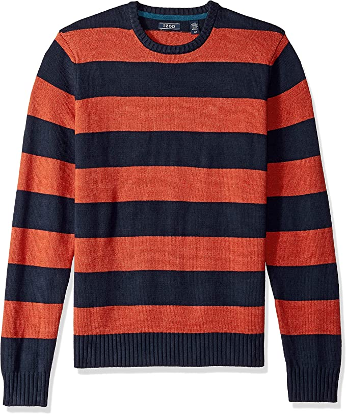Men's Vintage Sweaters, Retro Jumpers 1920s to 1980s IZOD Mens Newport Stripe 7 Gauge Crewneck Sweater $28.39 AT vintagedancer.com