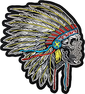 Amazon com: Indian chief Skull Hat Jacket Vest Biker PIN - By Patch