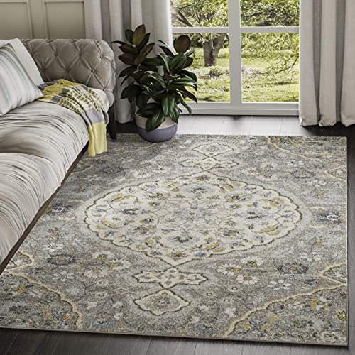Abani Rugs Grey Ivory Blue Floral Distressed Vintage Classic Area Rug – 7 9 x 10 2 Traditional Accent Rug, Eden Collection