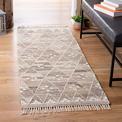 Safavieh Natural Kilim Collection NKM316B Flatweave Natural and Ivory Wool Runner 2 3 x 10