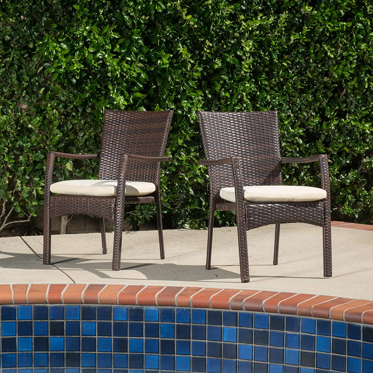 GDF Studio Melba Outdoor Brown Wicker Dining Chair with Beige Cushion Set of 2