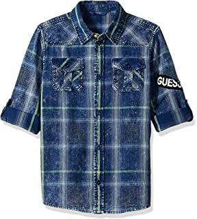 GUESS Boys Big Short Sleeve Race Track Graphic Polo