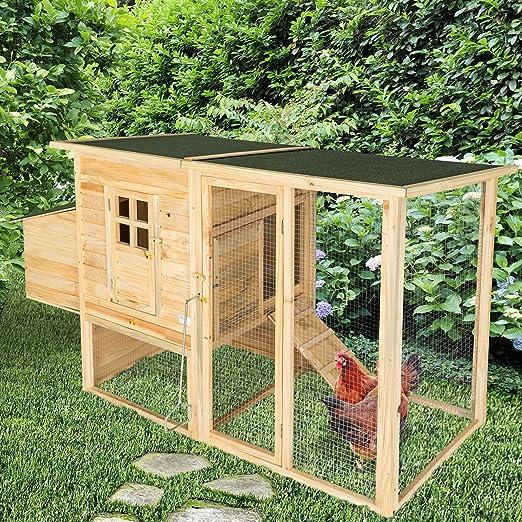 TecTake Gallinero XL Conejera Jaula Casita Madera Establo para Gallinas 198 x 75 x 104 cm: Amazon.es: Productos para mascotas