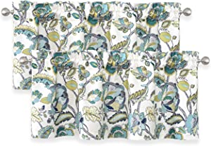 DriftAway Layla Classic America Style Floral Leaves Room Darkening Window Curtain Valance Rod Pocket 52 Inch by 18 Inch Plus 2 Inch Header Teal Gray 2 Pack