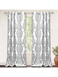 Amazing DriftAway Samantha Thermal/Room Darkening Grommet Unlined Window Curtains,  Floral/Damask Medallion Pattern