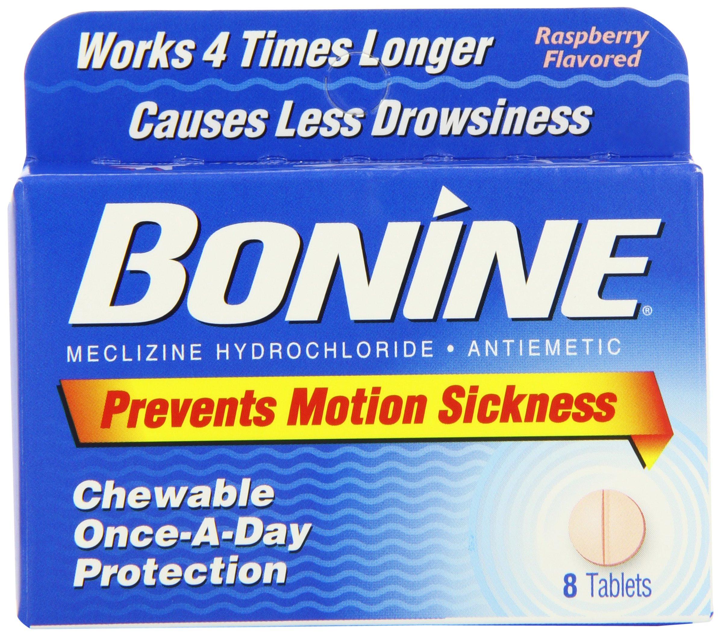 Bonine Motion Sickness Protection, Chewable Tablets, Raspberry 8 ea (Pack of 6)