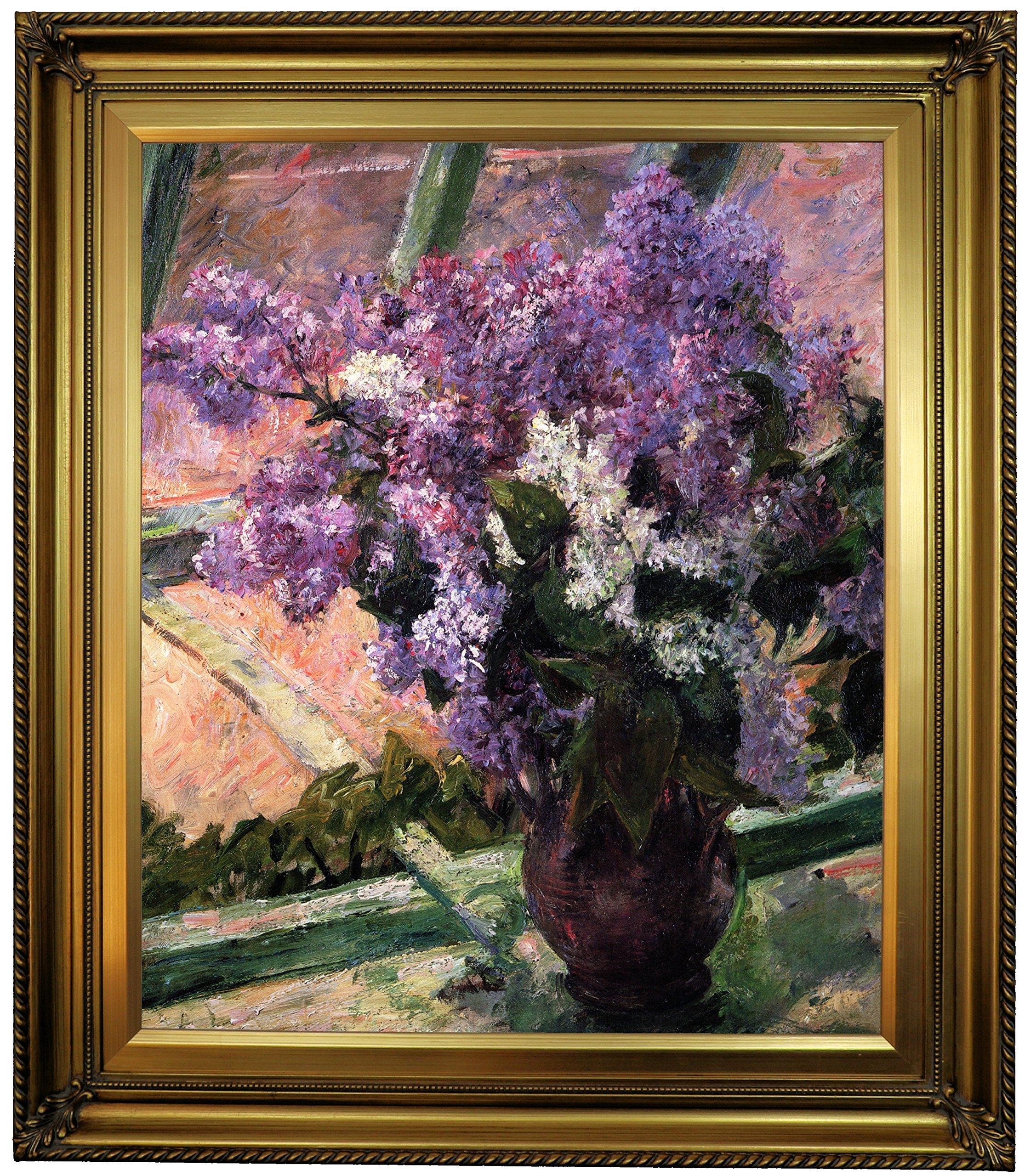 Historic Art Gallery Lilacs in a Window 1880 by Mary Cassatt Framed Canvas Print, 20'' x 24'', Gold Leaf