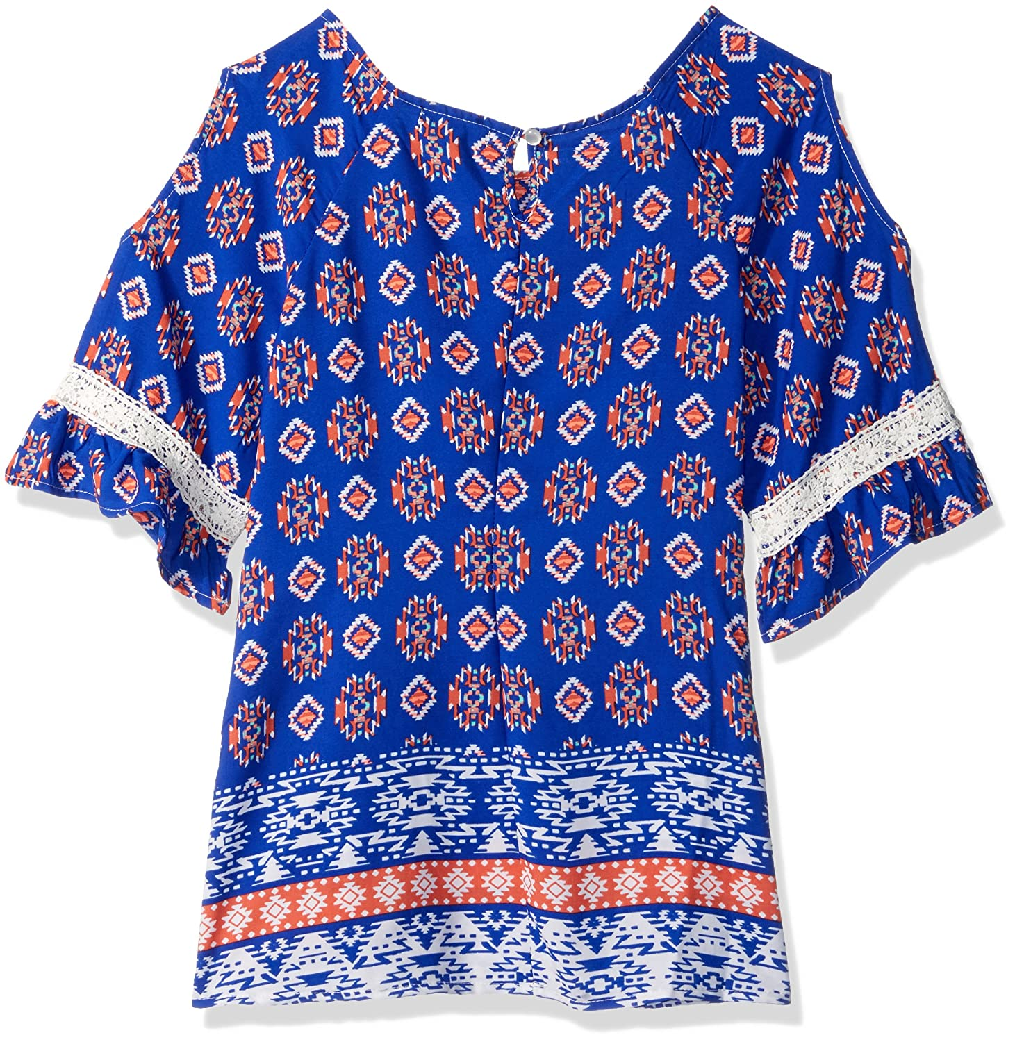 My Michelle Girls Big Printed Cold Shoulder Top with Keyhole Back