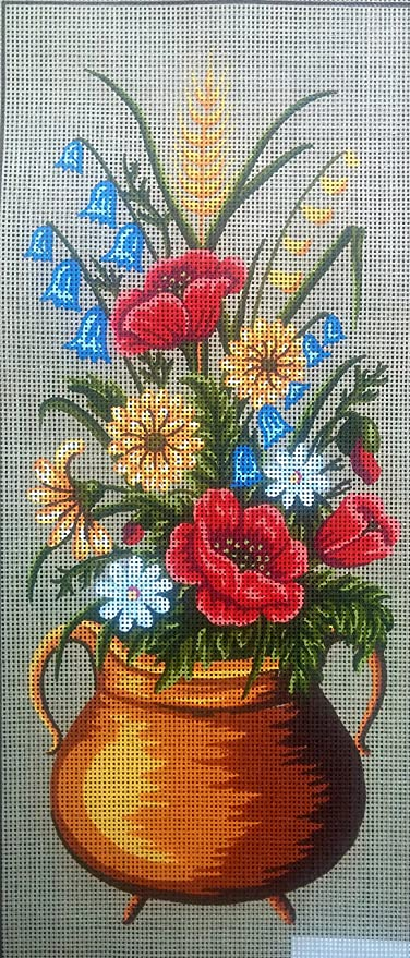 POPPIES /& ASSORTED FLOWERS IN A GOLD POT NEEDLEPOINT CANVAS
