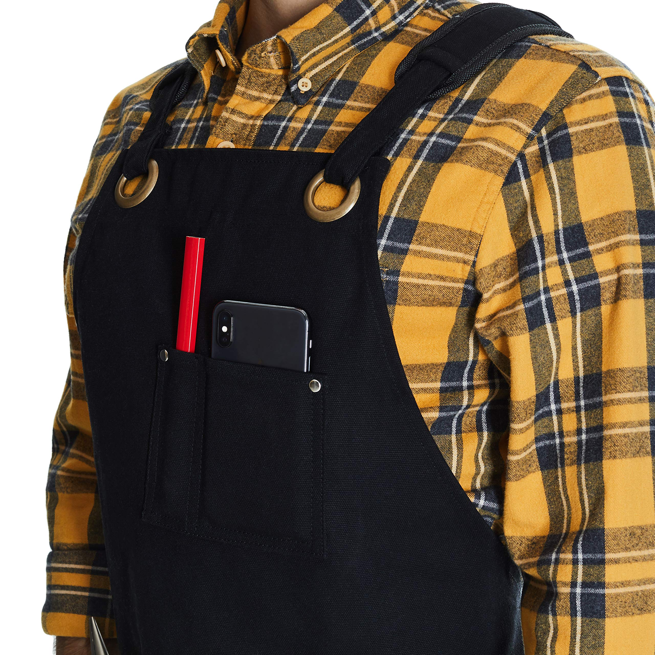 Shop, Work Apron - Waxed Canvas woodworking apron with 6 Spacious Pockets - Durable Apron Tool with Microfiber Towel Included - No Neck Pain, Smart Cross-Back Straps Design - Fully Adjustable S to XXL by Makara.907 (Image #6)