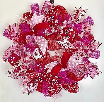 Amazon Com Valentines Day Deco Mesh Door Wreath 22 Red White