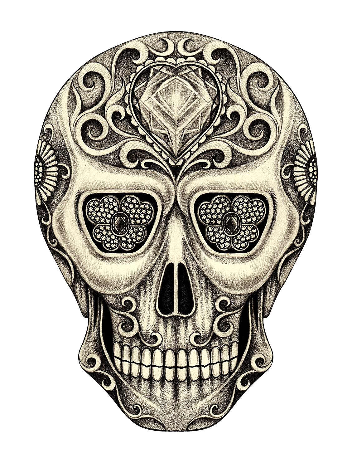 Amazon com pencil sketch skull with jeweled heart and eyes vinyl decal sticker 4 automotive