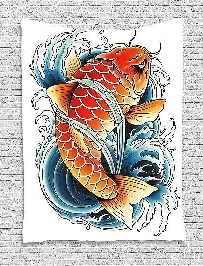Peces Koi Tapiz Por Lunarable Tatuaje Estilo Dibujo De Angry Animal