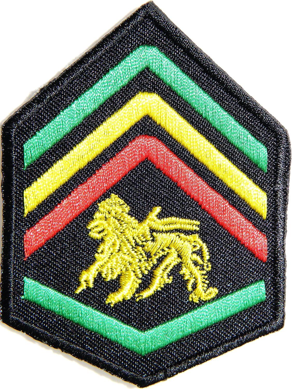 1,5 Jah ejército Militar Chevron el León de judá Rasta Reggae Rastafari Jamaica África Logo chaqueta camiseta parche coser hierro en bordados Badge ...