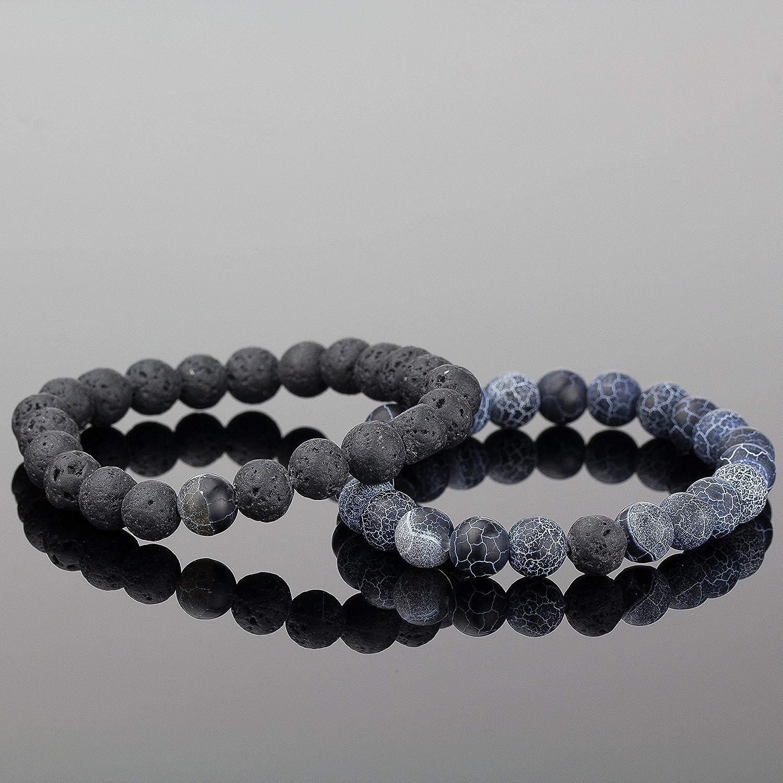 41e9957407e3c Soul Statement Lava Beads Friendship Bracelets: Beaded Unisex Bracelet Set  for Couples