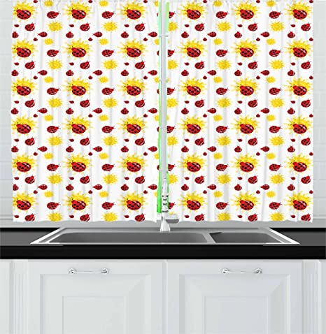 Amazon Com Ambesonne Ladybugs Kitchen Curtains Summer Season Inspired Sun Pattern Bugs Animal Imagery Cartoon Characters Window Drapes 2 Panel Set For Kitchen Cafe Decor 55 X 39 Red Black Yellow Home