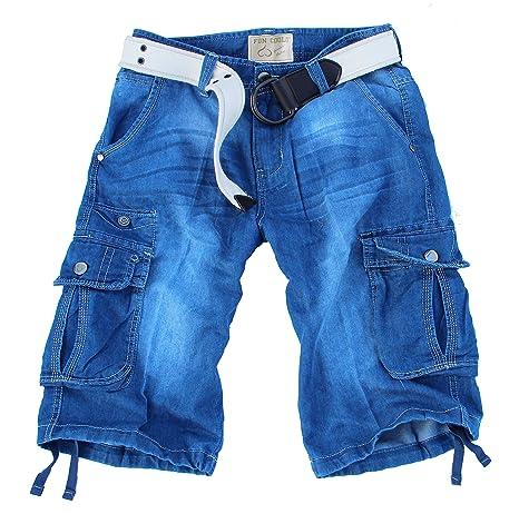 12dcf8d502 Fun Coolo Pantalón corto Hombre Jeans Cortos Bermuda Cargo Short con  bolsillos laterales, bolsillo, y cinturón 2016 Jeans T: Amazon.es: Ropa y  accesorios