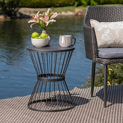 Miraculous Christopher Knight Home 304131 Fern Outdoor 16 Inch Matte Black Iron Side Table Caraccident5 Cool Chair Designs And Ideas Caraccident5Info
