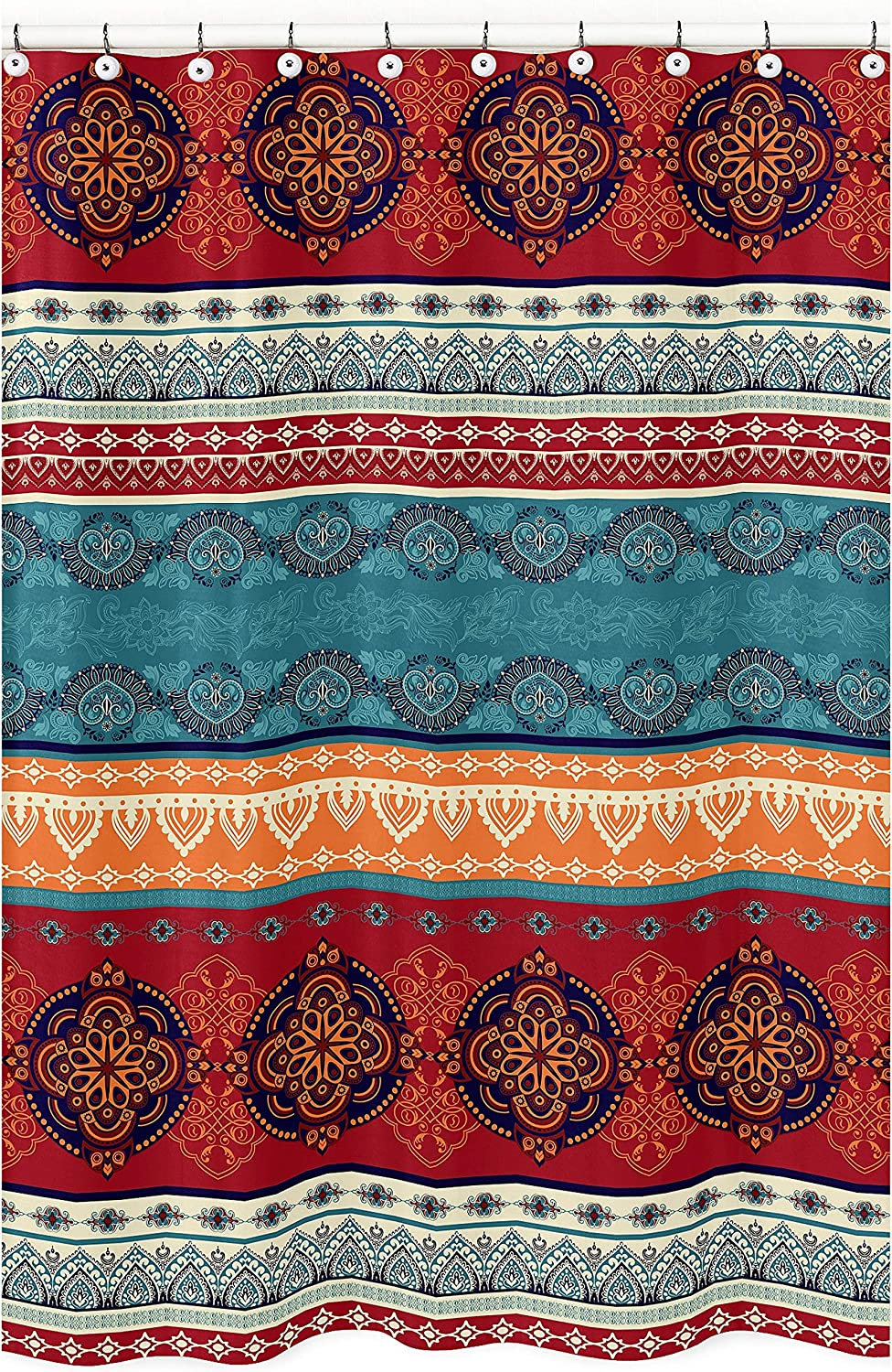 Boho Mandala Bohemian Chic Decorative Bathroom Fabric Bath Shower Curtain 72x72 Aztec Room Decor Ethnic Vintage Colorful Hipster Hippie Indian Tapestry Turquoise Patterned Retro Teal Blue Red Orange