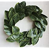 Magnolia Leaf Wreath, 20 inches (Adjustable Leaves, Artificial Leaves)   by Urban Legacy