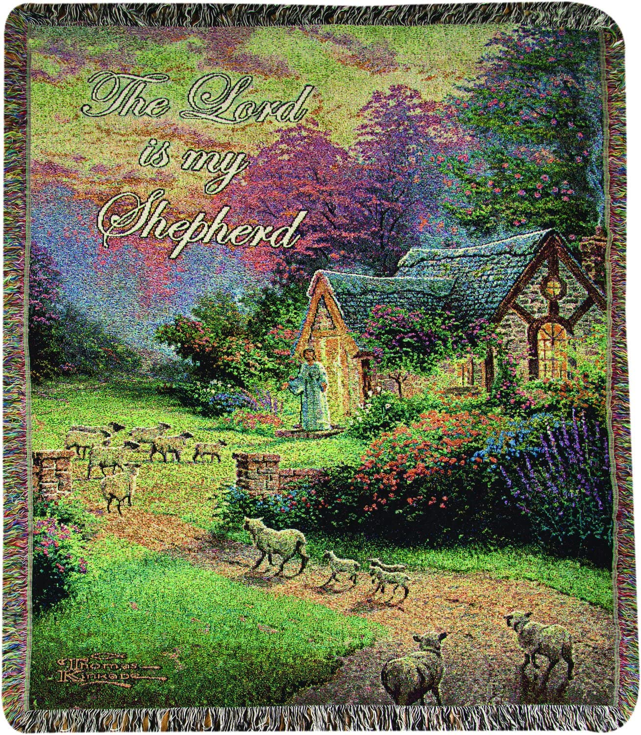 Manual Woodworkers & Weavers Tapestry Throw, Thomas Kinkade Good Shepherd's Cottage, 50 x 60