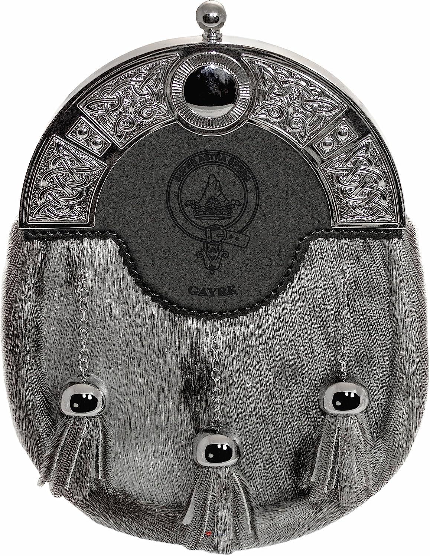 Gayre Dress Sporran 3 Tassels Studded Targe Celtic Arch Scottish Clan Name Crest