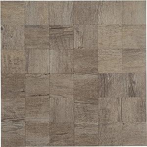 """Peel & Stick Stone Tile Backsplash - Metal Wood Square Design - 11.5"""" X 11.7"""""""