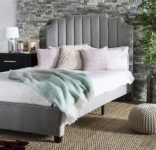 Best modern bed: Safavieh Home Streep Modern Grey Velvet Bed