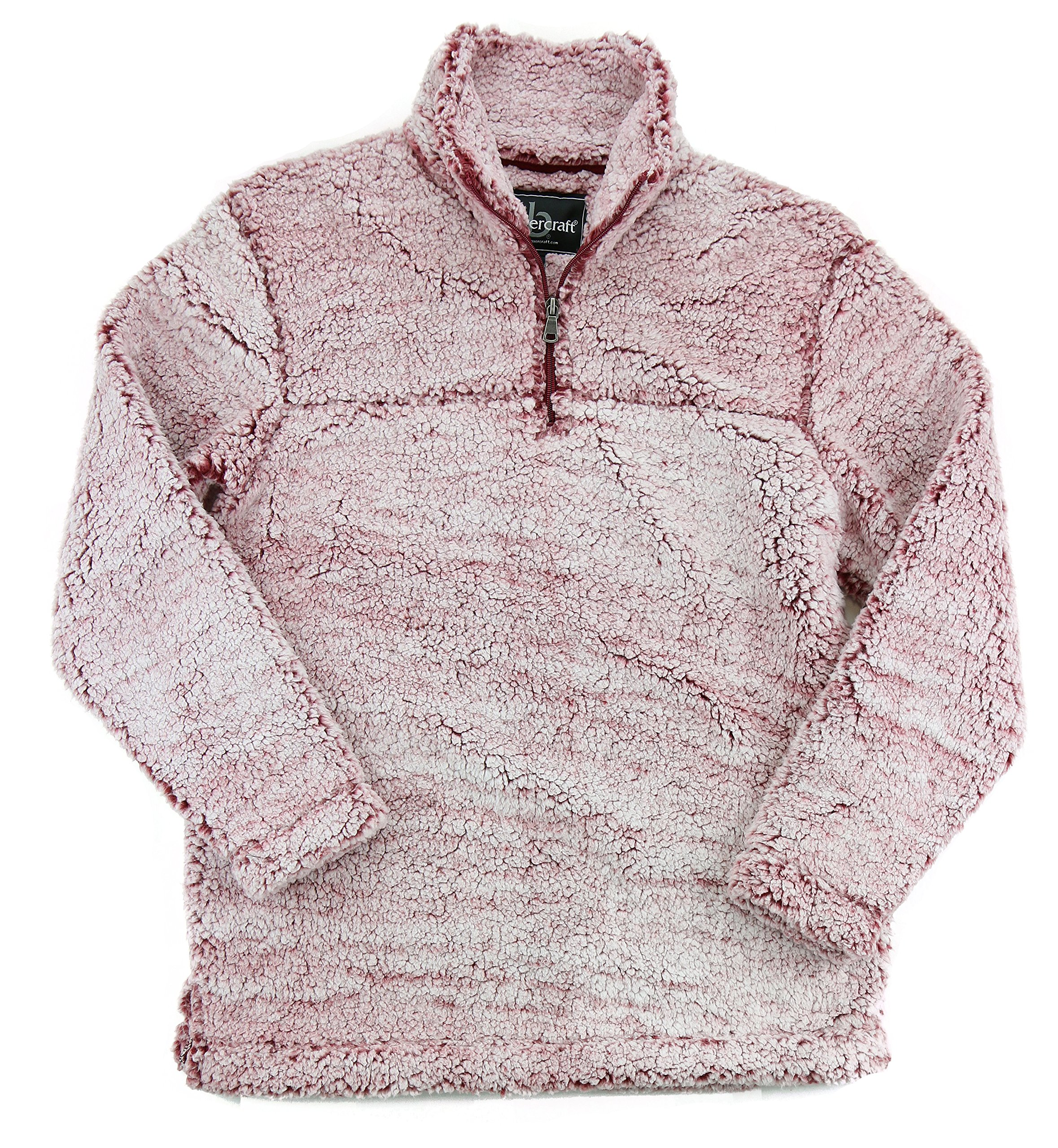 Boxercraft Adult Super Soft 1/4 Zip Sherpa Pullover (XX-Large, Snowy Garnet)