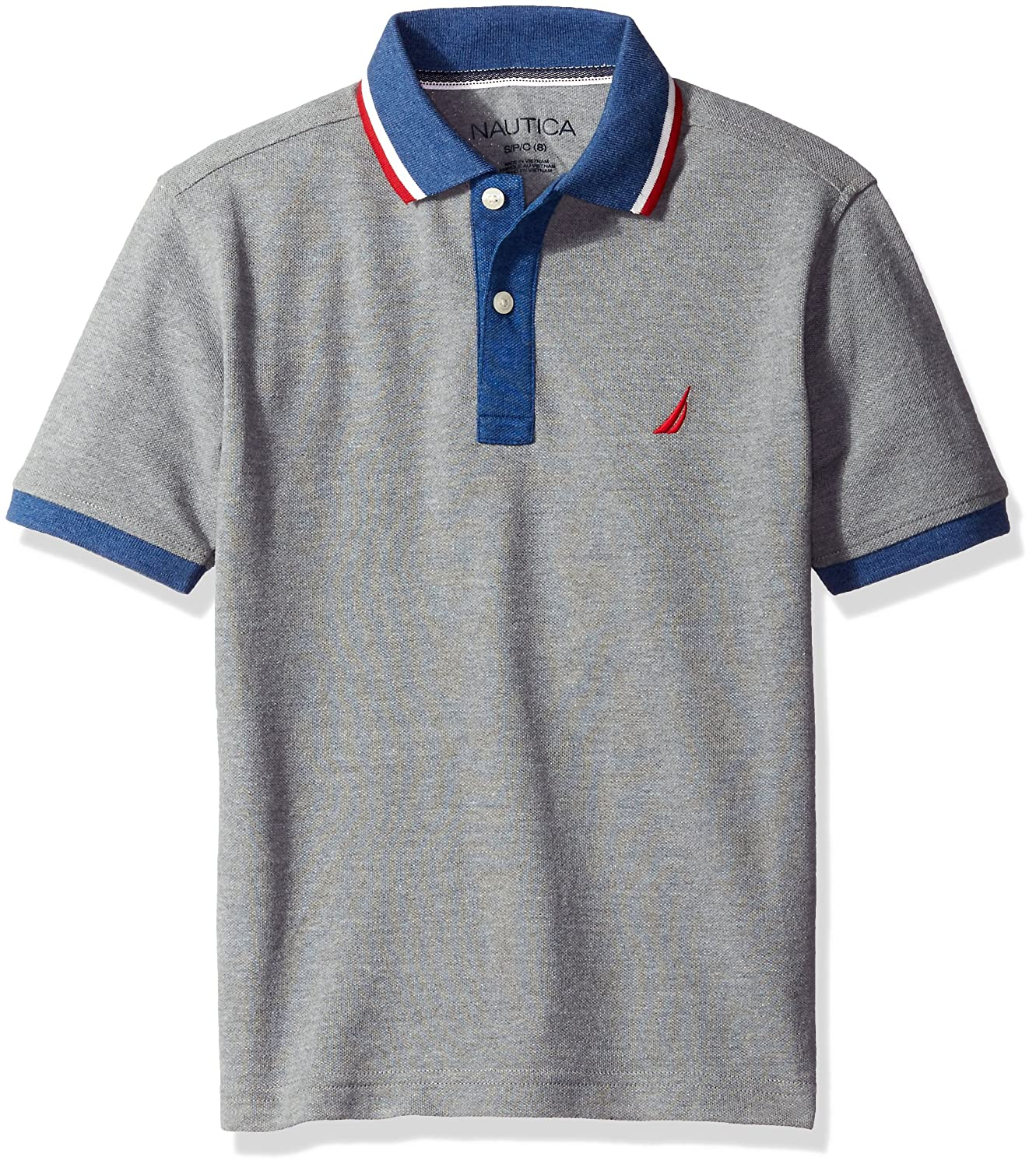 Nautica boys Short Sleeve Polo With Tipped Collar Medium Grey Heather Large/7 N481660Q