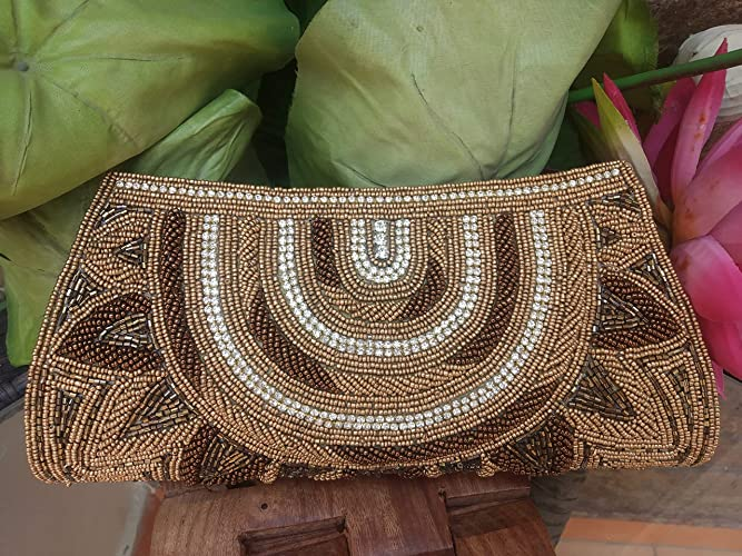 Beautiful Brown Beaded Clutch, Handmade Sequin Bag, Brown Indian