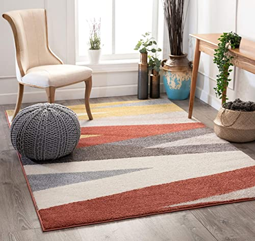 Well Woven Wavy Stripes Modern Terracotta Abstract Area Rug 5×7 5'3″ x 7'3″