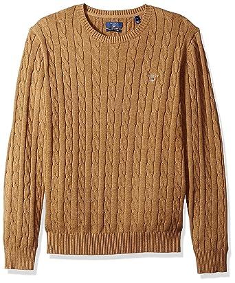 23f9ffc8062460 GANT Men's Cable Cotton Crewneck Pullover Sweater, Dark Sand Melange, ...